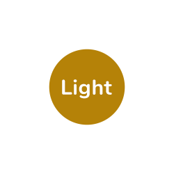 "A gold, circular icon with the text ""Light"" displayed. This indicates that this ingredient is selected and the portion size is Light."