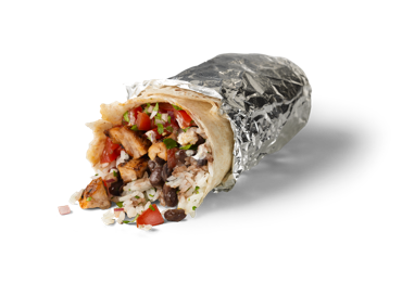 A photo of a Chipotle Burrito. The burrito is angled towards the screen. The front portion is unwrapped and contents of the burrito can be seen.
