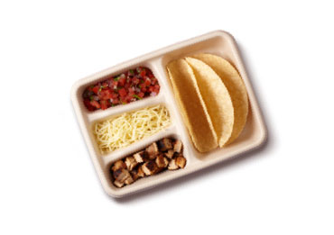 An overhead photo of a Chipotle Kids meal.